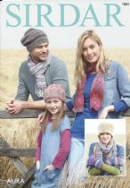 Sirdar Aura Chunky - 7883 Hats, Scarf & Mittens Knitting Pattern